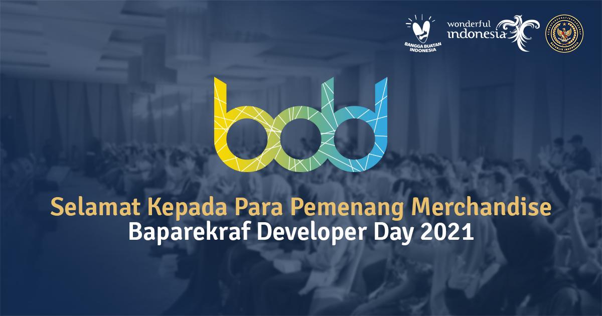Informasi Pemenang Giveaway Merchandise Eksklusif Baparekraf Developer Day 2021